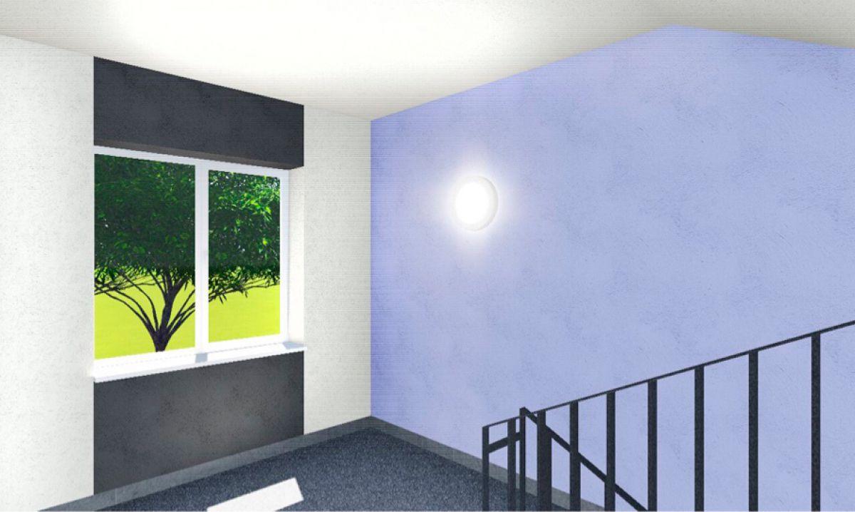 Отделка стен текстурной штукатуркой в местах общественного пользования ЖК Надежный