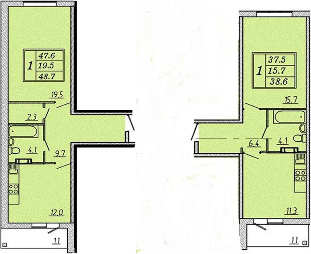 Различные по габаритам однокомнатные квартиры в ЖК Надежный