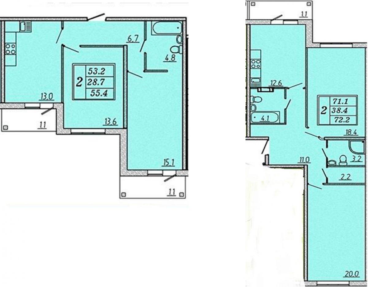 Различные по габаритам 2-комнатные квартиры, с двумя балконами в ЖК Надежный