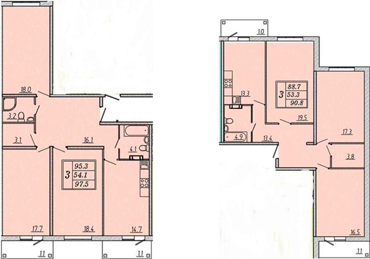 Большие, комфортные 3-комнатные квартиры, в которых также по 2 балкона, и 2 санузла в ЖК Надежный