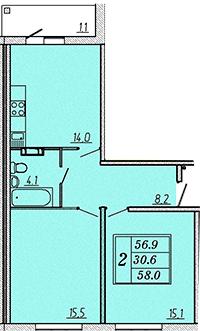 Двухкомнатная квартира 58,2 м2 ЖК Надежный, Коммунар, Гатчинский район, Ленинградская область