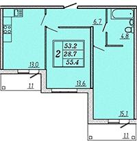 Двухкомнатная квартира 55,5 м2 ЖК Надежный, Коммунар, Гатчинский район, Ленинградская область