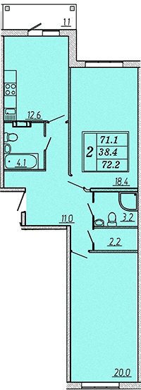 Двухкомнатная квартира 74,1 м2 ЖК Надежный, Коммунар, Гатчинский район, Ленинградская область