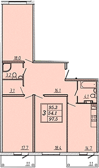 Трехкомнатная квартира 97,9 м2 ЖК Надежный, Коммунар, Гатчинский район, Ленинградская область