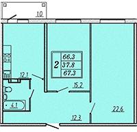 Двухкомнатная квартира 67,5 м2 ЖК Надежный, Коммунар, Гатчинский район, Ленинградская область