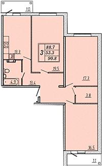 Трехкомнатная квартира 90,3 м2 ЖК Надежный, Коммунар, Гатчинский район, Ленинградская область